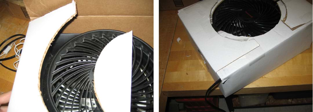 Two photos show (left) that extra cardboard was cut away, exposing only the front of the fan where air blows out. (right) Packing tape secures the flaps on the front of the cooler to one another, completely closing off the front of the cooler and only exposing the fan blade.