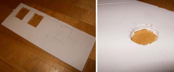 Two photos: (left) A rectangle of white foam core board representing the front façade of a house, with pencil marks for location of five windows with two of them cut out of the board. (right) A piece of white foam core board representing a ceiling, with a circular area removed.