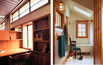 Two photos: (left) Side windows and a high row of upper windows throw much light on a desk area. (right) Side windows on two walls, plus a ceiling skylight brighten a tub and shower area.