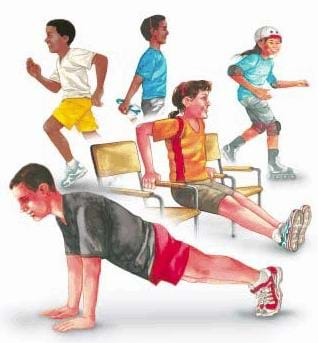 A drawing showing five children engaged in various exercises, including pushups, jogging, and roller blading.