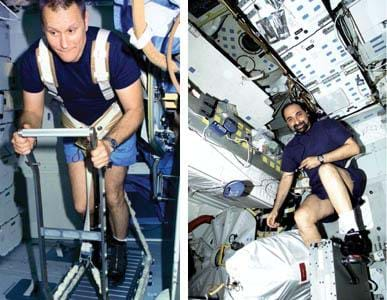 Two photographs show astronauts working out on a treadmill (left photo) and on a cycle ergometer (right photo).