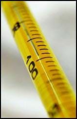 Close-up photo shows a yellow thermometer with mercury showing close to 100 degrees.