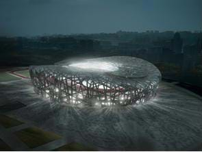 "Drawing of the design for the Beijing Olympic stadium.  The stadium looks like a ""bird's nest"" of metal."