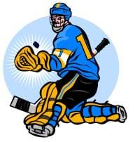 A drawing of a hockey player and his gear: glove, stick, helmet with chin guard, and shin, ankle and knee guards.