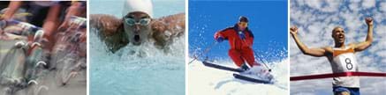 Four photos show athletes biking, swimming, skiing and running.