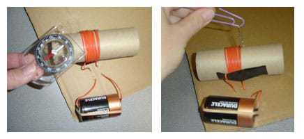 Two photos show a hand holding a compass and a dangling paperclip near the cardboard tube wrapped in wire with two long tails of the wire run through holes in the cardboard and attached with a rubber band to opposite ends of a D-cell battery.