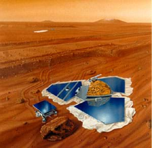 An artist's rendition of the 1997 Pathfinder Mission to Mars.  The Pathfinder lander collects energy and communicates with Earth, while the Sojourner rover investigates rocks.