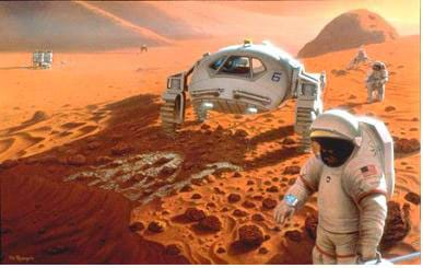 A conceptual drawing shows what a future manned mission to Mars might look like. A few humans in spacesuits with a Mars vehicle in the foreground doing experiments with a living habitat in the distant background.
