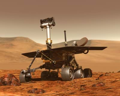 Artwork of a Mars Rover on the surface of Mars.