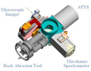 Illustration of the four tools used at the end of the rover's arm.