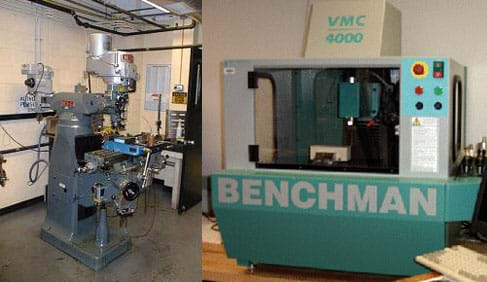 The photo on the left shows a commercial CNC machining center.  The photo on the right shows a vertical milling machine in a machine shop.