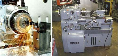 Two photos: (left) Sparks fly around a spinning cylinder. (right) a large gray machine with numerous dials and knobs.