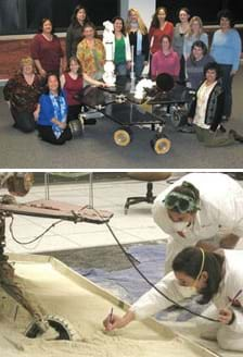 Two photos: 15 female engineers and scientists stand around a robot with four wheels and two arms. Two women in white coveralls with breathing masks make marks in a sand pit where a partially sunken wheel of a rover can be seen.