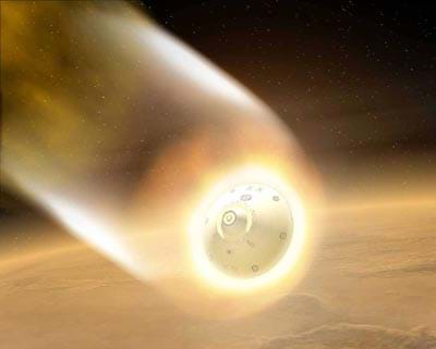 An illustration of the aeroshell entering the Martian atmosphere.