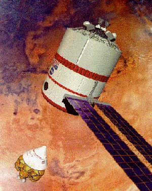An artist's drawing shows a pointed capsule approaching a larger cylindrical station with side solar panels.