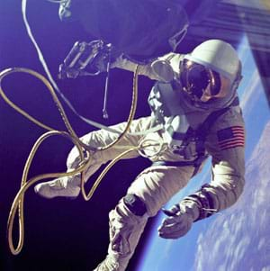 "Photo shows a tethered astronaut ""floating"" in space."