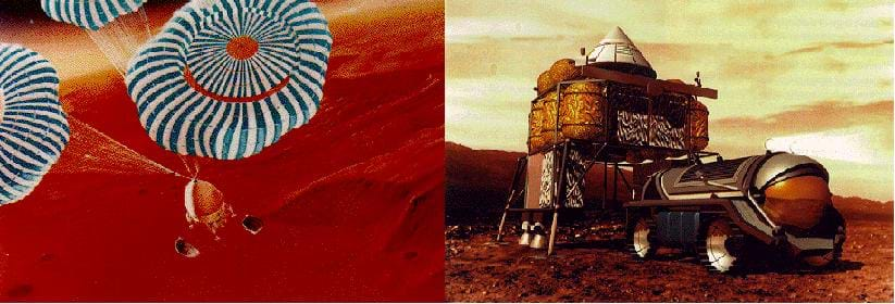 Two illustrations of human movement to/on Mars, the Red Planet:  A space vehicle drops via three striped parachutes onto the planet's surface. A vehicle on wheels moves over the surface of Mars.
