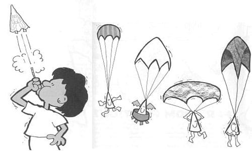 A drawing on the left shows a student launching the parachute flier by blowing on a straw under the paper cone. The second drawing shows four examples of falling parachutes, open and slowing the fall of each cone.