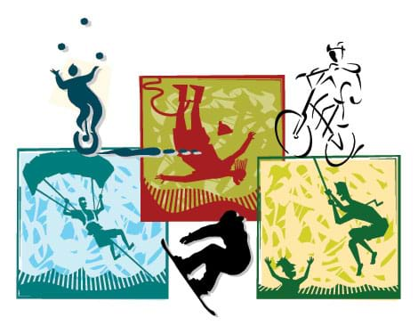 A composite of stylized drawings of snow boarding, biking, bungee jumping, parachuting, unicycle juggling and rope swinging.