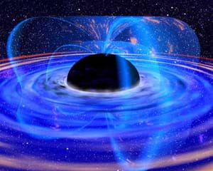 An artist's colorful drawing of a black hole showing matter falling into the dark sphere in the center.