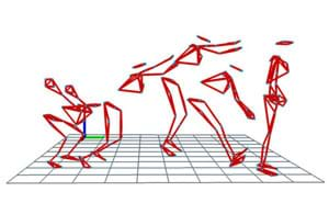 In simple lines representing a body and limbs, the essence of a figure moving across a grid is illustrated.