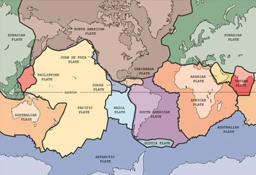 A map of the Earth with the tectonic plates outlined and labeled.