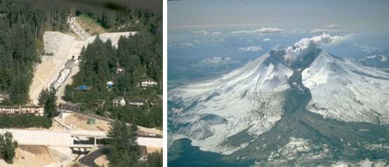 Two photos: (left) A concrete-covered hillside and enclosed stretch of highway. (right) Snow-covered mountain with a black river of debris pouring from the crater down the slope into the valley below.