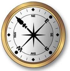 Drawing of a gold-rimmed compass, with its needle pointing to north.