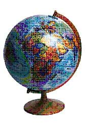 A picture of a standard world globe.