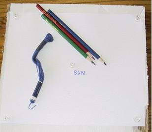 A picture of a cardboard square, with blank paper placed on it with push pins in the upper corners. Sewing thread and a red, green and blue colored pencil are placed on top of the cardboard, indicating the supplies needed for this activity.
