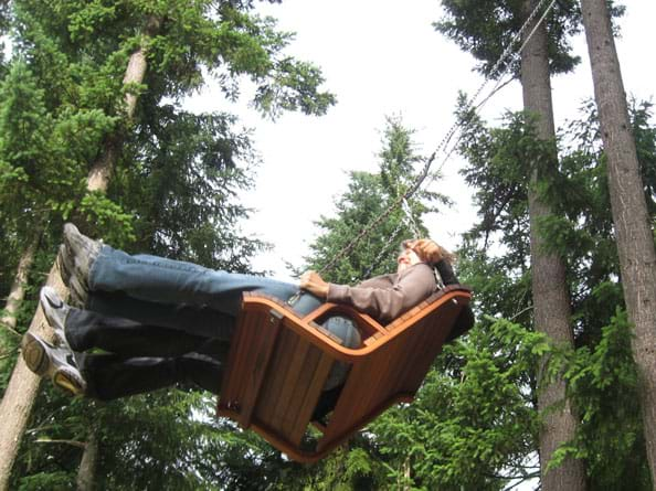 Photo shows two adults on a two-person swing hanging from very tall pine trees, on the upswing arc.