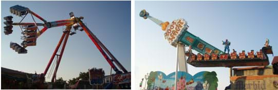 Photos show people on mechanical rides that swing from pivot points.