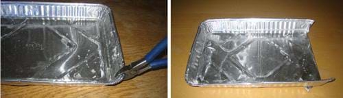 Two photos: (left) Wire cutters snipping a silver baking pan on the short end, (right) the same end flap folded entirely under the pan.