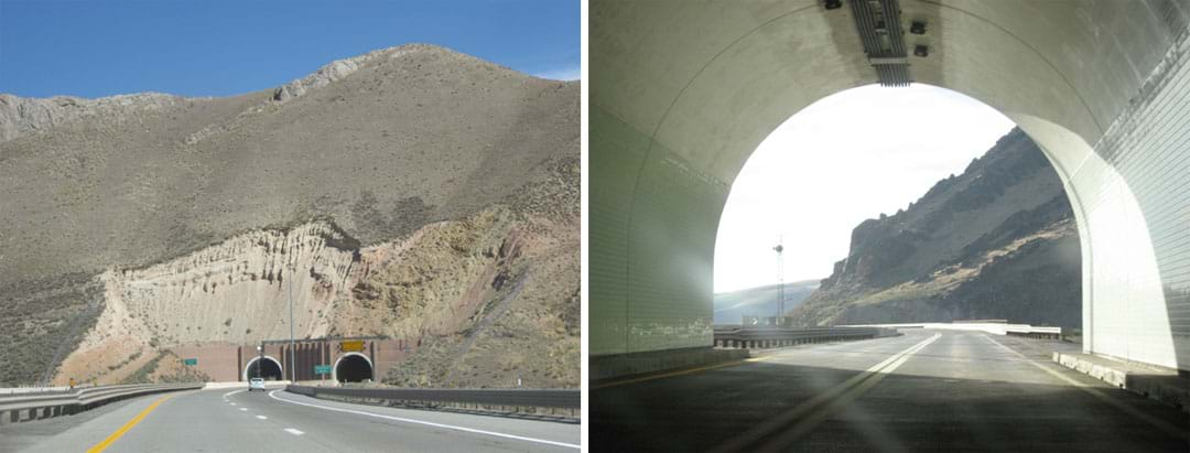 Two photos: (left) view from a highway looking at two arched tunnel entrances into the rock face of a mountain; (right) view from inside a highway tunnel, looking through an arched opening to the road that continues beyond.