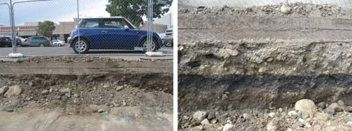 Two photos: (left) Construction in a retail shopping center shows a cutaway of the asphalt parking lot to reveal (right) the soil profile of varied layers of rock and soil below.