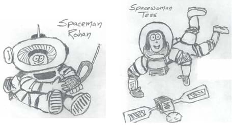 Black and white sketches of Spaceman Rohan and Spacewoman Tess; they are both floating in space in their spacesuits.