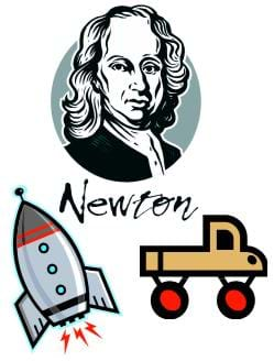 "Colorful caricatures of a Sir Isaac Newton, a rocket and a crude car, suggesting ""Newton Rocket Car."""