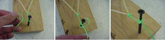 A series of three photos shows how to attach the string to the forward screw.  Once the rubber band is pulled back, the string is wrapped several times around the top of the screw.  Then a single hitch knot is made in order to hold the string in place.