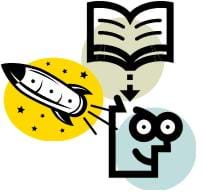 Colorful cartoon images of a person, a book and a rocket. The image indicates a person learning from a book to build a rocket.