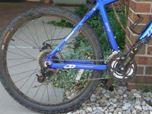 A photograph of a bicycle, showing the rear half of the frame, its wheel, tire, gears and spokes.