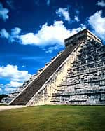 Photo of one side of a flat-topped pyramid with steps to the top.