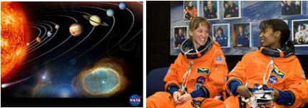 Two images: Graphic shows our solar system— a huge, glowing orange orb surrounded by concentric rings, each containing a smaller, colored orb. Two female astronauts in orange spacesuits.