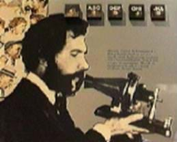 A drawing shows a man with a mustache and beard speaking into an early telephone.