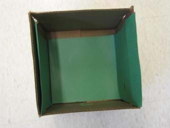 Photo looking down into a square box with green construction paper on the bottom and two inner side walls.