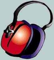 A drawing of thickly padded, red headphones.