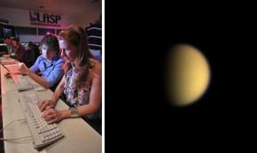 Two images: (left) A man and a woman work at keyboards in the foreground in a control room full of other people. (right) A soft-focus pale-orange orb that is half in shadow on a black background.