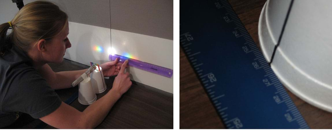 Two photos: (left) distance from the center of the screen to any color can be measured using a ruler. (right) The distance from the grating to the screen is read off of the meter stick using the black line drawn on the Styrofoam cup.