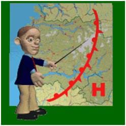 A caricature of a TV weatherman stands in front of a map that shows a high-pressure storm system moving towards the central US from the west coast. The map features a big red H and an arching red line that indicates the front edge of the storm.