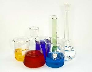 A graduated cylinder, a volumetric flask, an Erlenmeyer flask, and three beakers.