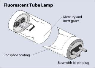Light up your life lesson teachengineering a drawing of a fluorescent tube lamp with phosphor coating mercury and inert gases aloadofball Image collections
